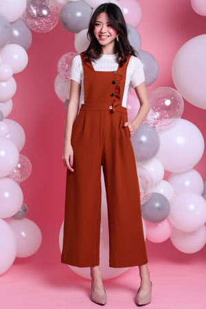 Lena Ruffle Pinafore Jumpsuit in Caramel