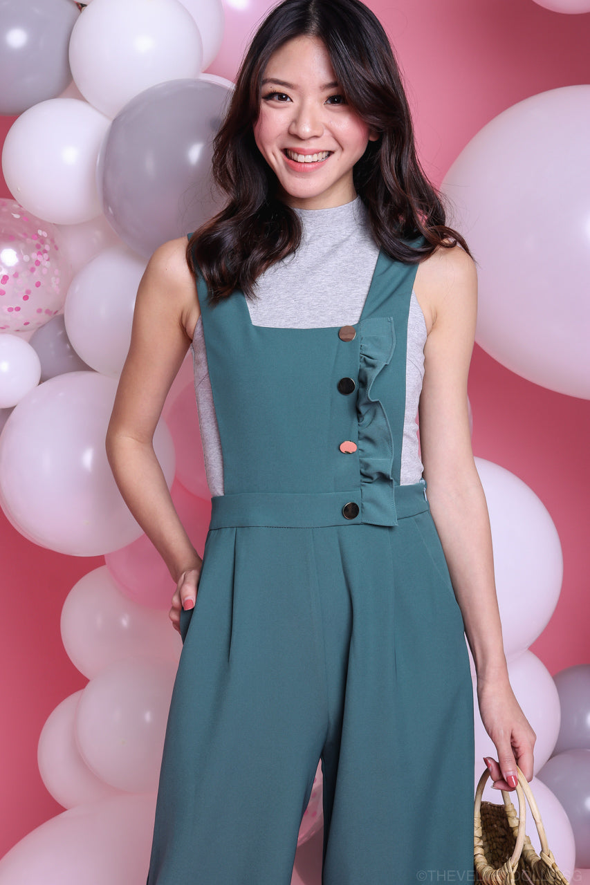 Lena Ruffle Pinafore Jumpsuit in Sea Salt