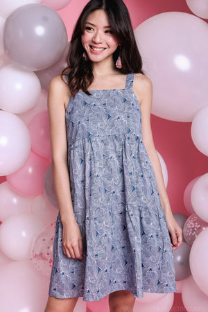 Mulberry Leaf Tiered Dress in Blue