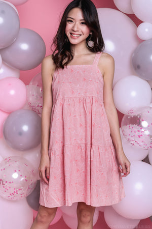 Mulberry Leaf Tiered Dress in Pink
