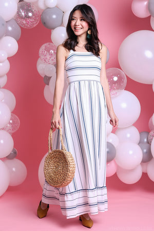 Lindy Striped Maxi Dress in Blue