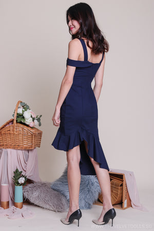 Restocked** Shayla Asymmetrical Dress in Navy