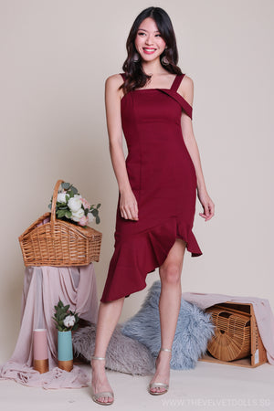 Restocked** Shayla Asymmetrical Dress in Wine
