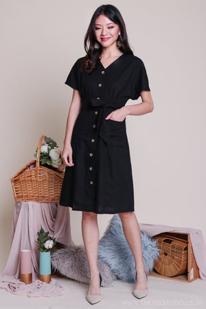 Canberra Linen Dress in Black