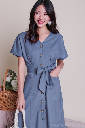 Canberra Linen Dress in Denim Blue