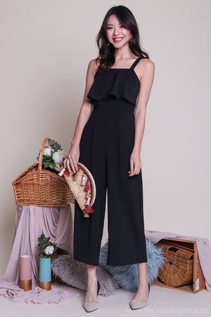 Backorder* Evelyn Layered Jumpsuit in Black