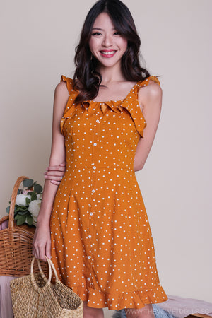 Restocked* Florida Polkadot Skater Dress in Mustard