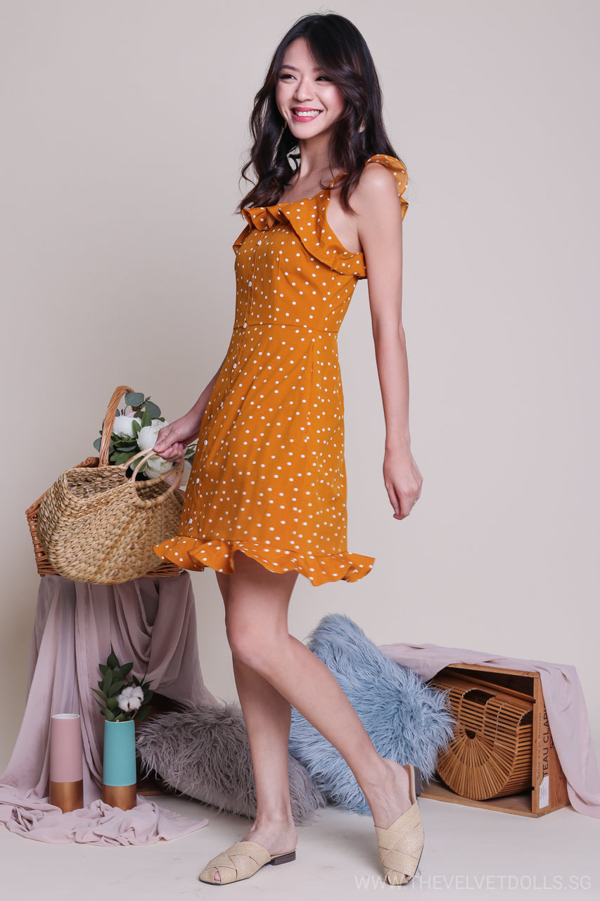 Backorder* Florida Polkadot Skater Dress in Mustard