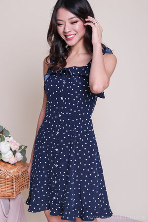 Florida Polkadot Skater Dress in Navy