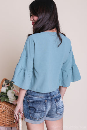 Jenna Button Down Blouse in Blue