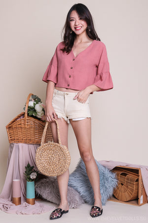 Jenna Button Down Blouse in Pink