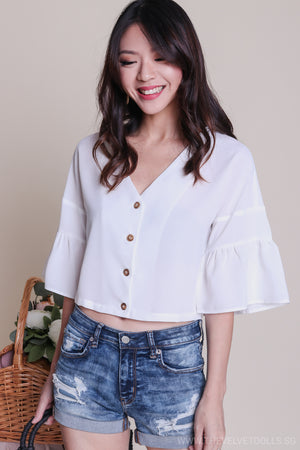 Jenna Button Down Blouse in White
