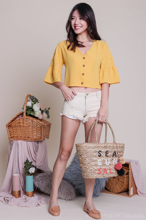 Jenna Button Down Blouse in Yellow