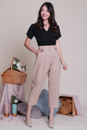 Claire Button Linen Pants in Nude