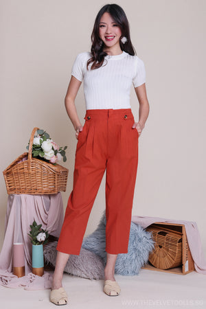 Claire Button Linen Pants in Rust