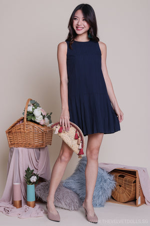 Lora Pleat Hem Textured Dress in Navy
