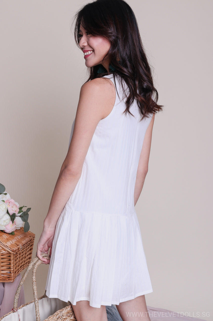 dfe53ec13c9d Lora Pleat Hem Textured Dress in White - TheVelvetDolls