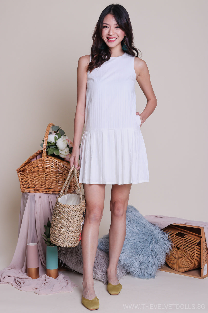 Lora Pleat Hem Textured Dress in White