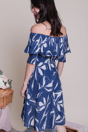 Jules Off-Shoulder Dress in Blue