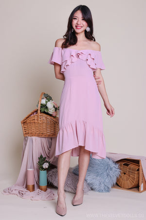 Janis Off-Shoulder Ruffle Dress in Pink
