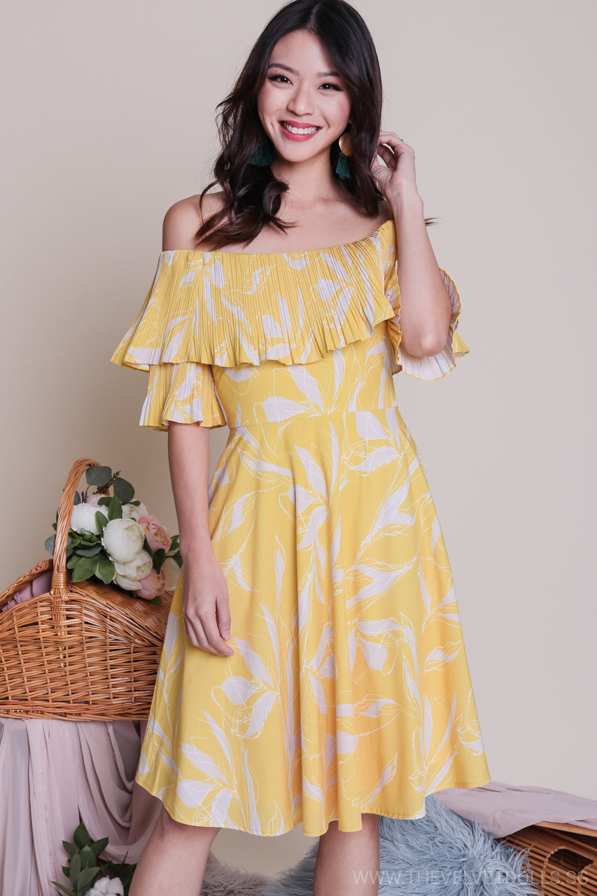 afe43b3f98 Jules Off-Shoulder Dress in Yellow - TheVelvetDolls