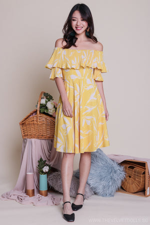 Jules Off-Shoulder Dress in Yellow
