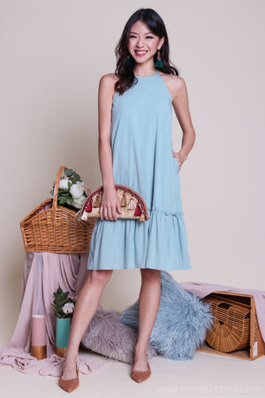 Pastel Fancy Ruffle Hem Dress in Jade