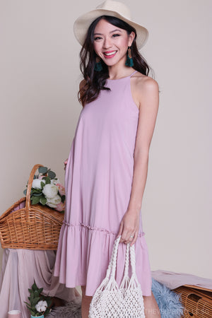Pastel Fancy Ruffle Hem Dress in Pink
