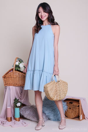 Pastel Fancy Ruffle Hem Dress in Sky