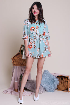 Restocked* Peony & Petal Playsuit in Jade Floral