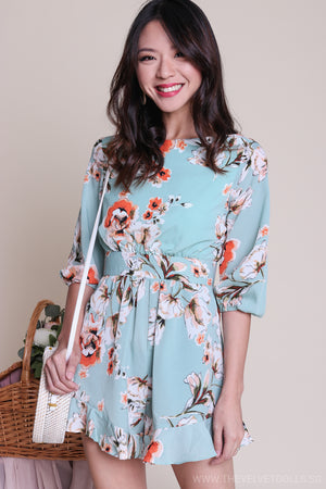 Backorder* Peony & Petal Playsuit in Jade Floral