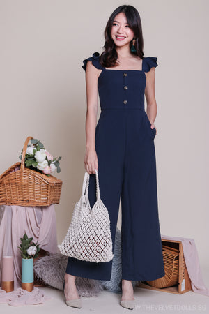 Adel Ruffle Strap Jumpsuit in Navy