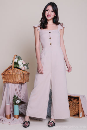 Adel Ruffle Strap Jumpsuit in Nude