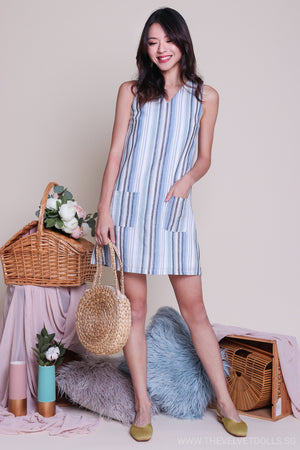 Striped Linen Pocket Dress in Blue