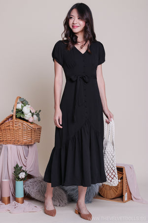 Restocked* Barbara Vintage Button Down Midi Dress in Black