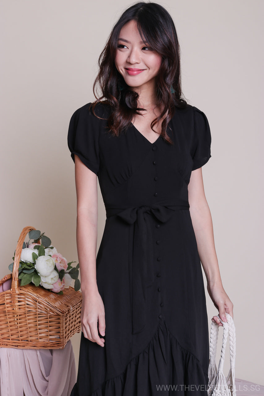 Backorder* Barbara Vintage Button Down Midi Dress in Black