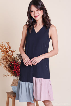 Bianca Tri-Color Hem Dress in Navy