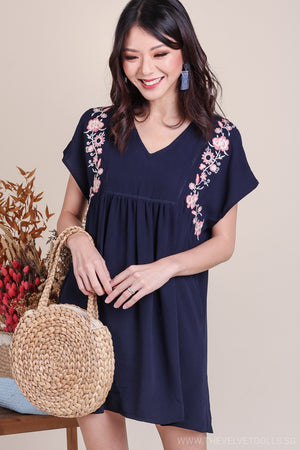 Backorder* Camilla Embroidery Babydoll Romper in Navy