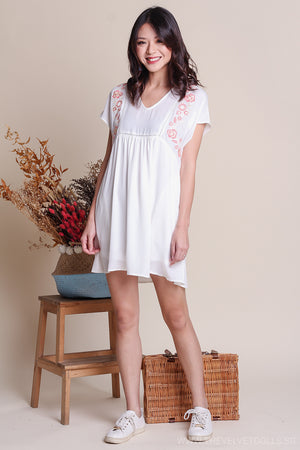 Camilla Embroidery Babydoll Romper in White