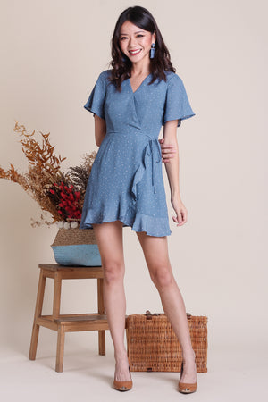 Backorder* Althea Playsuit Dress in Blue Polkadot
