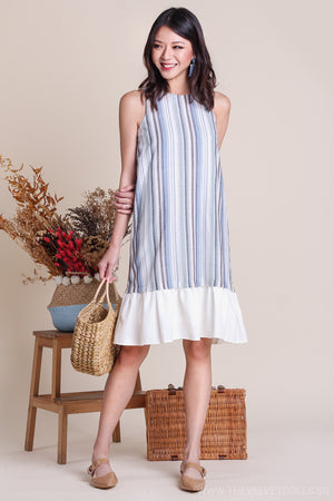 Deidre Stripe Contrast Hem Dress in Blue