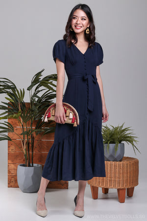 Barbara Vintage Midi Dress in Navy