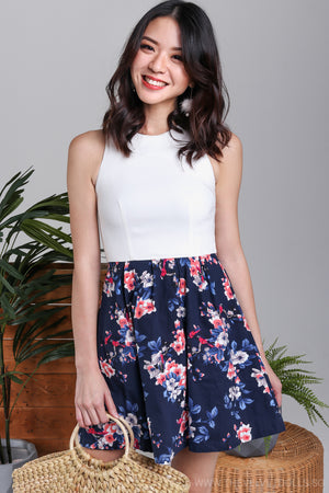 Azalea Floral Flare Dress in Navy