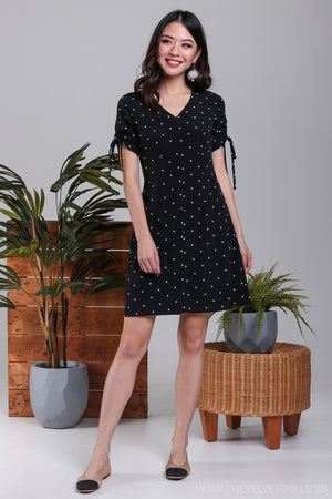 Danielle Drawstring Sleeve Dress in Black