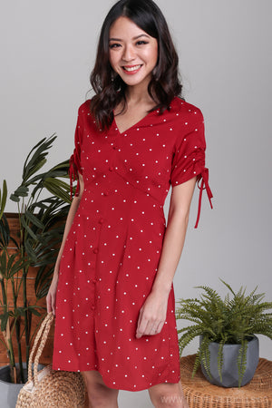 Danielle Drawstring Sleeve Dress in Red