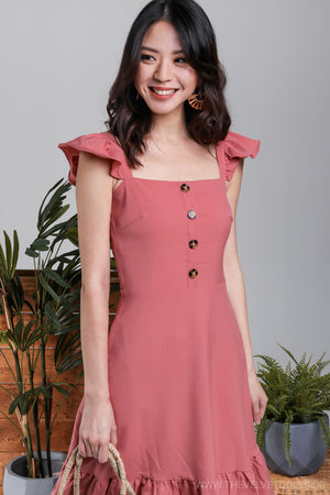 Elise Ruffle Strap Dress in Rose*