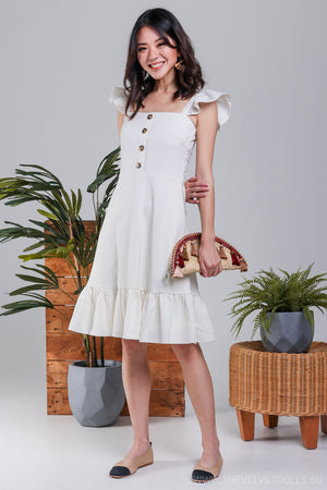 Elise Ruffle Strap Dress in Cream*