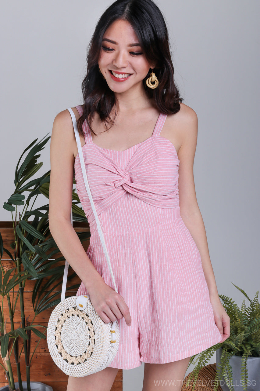 Bahamas Striped Romper in Pink*