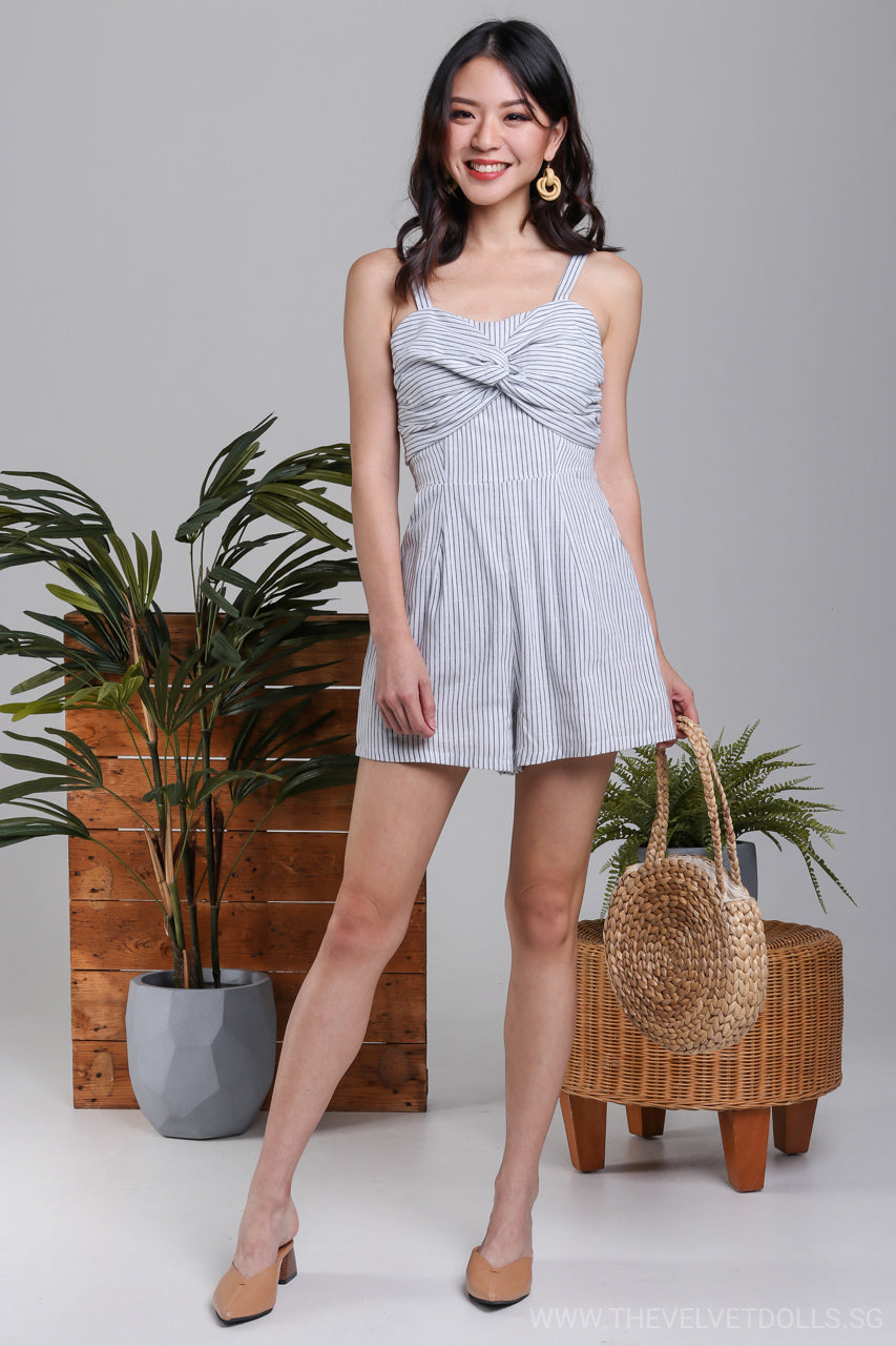 Bahamas Striped Romper in White*