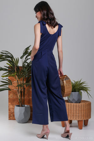 Sicily Ribbon-Tie Strap Jumpsuit in Navy*